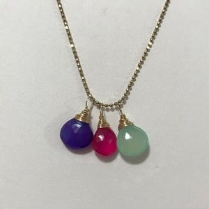 tricolor (pink purple green) gold necklace
